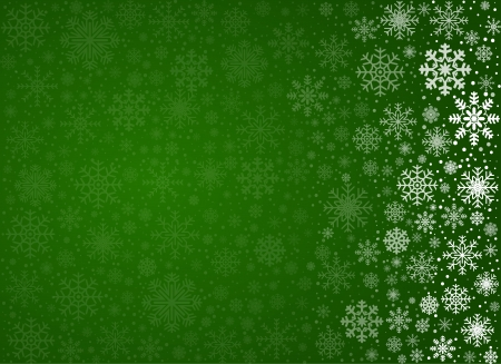 christmas snow globe: Green background with frosty snowflakes and copy space, vector pattern