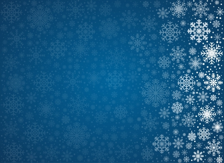 christmas snow globe: Blue background from frosty snowflakes with copy space, vector pattern