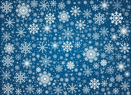winter wonderland: Blue background maked from frosty snowflakes, vector pattern