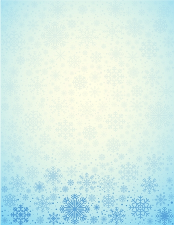 Blue light background frosty snowflakes with copy space, vector pattern Vector