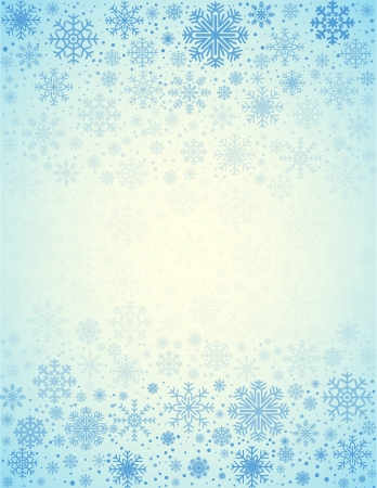Blue light background  from frosty snowflakes with copy space in center, vector pattern Vector