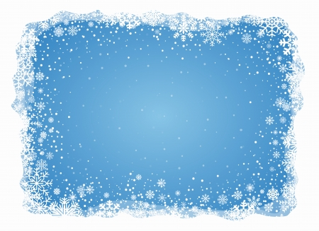Blue background  in white frame with snowflakes, vector pattern Illustration