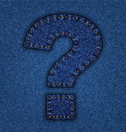 Denim question mark. Jeans alphabet.  Vector font with background Stock Vector - 24121662