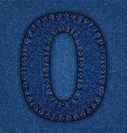 Denim number 0. Jeans alphabet.  Vector font with background Vector