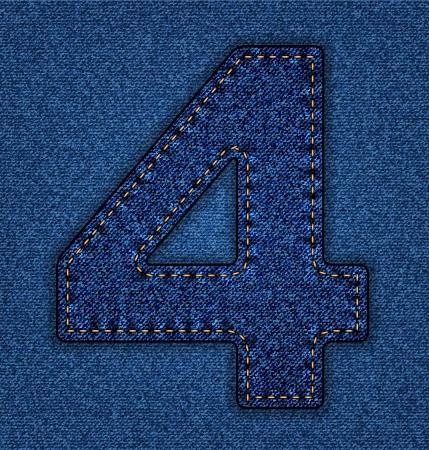 number 4: Denim number 4. Jeans alphabet.  Vector font with background