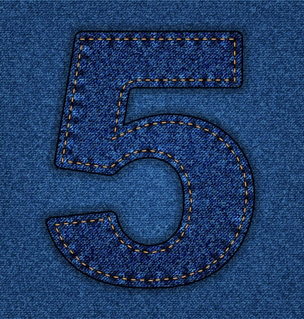 Denim number 5. Jeans alphabet.  Vector font with background Stock Vector - 24121768