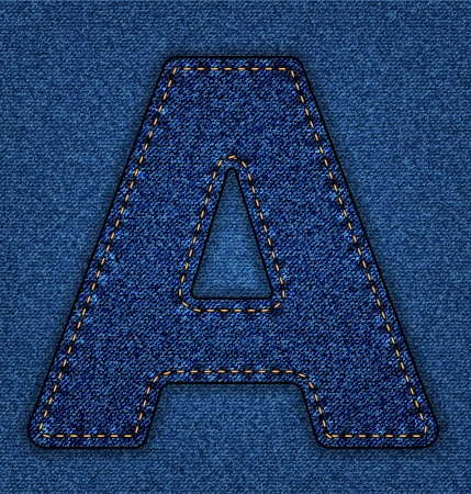Denim letter A. Jeans alphabet.  Vector font with background Vector