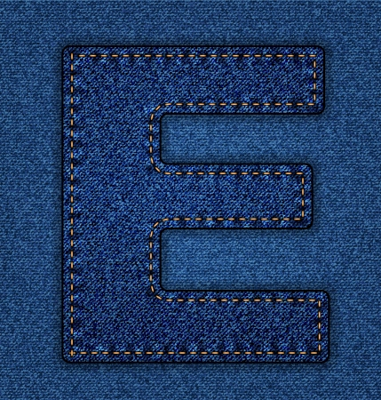 the letter e: Denim letter E. Jeans alphabet.  Vector font with background