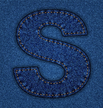 lettre s: Denim Jeans lettre S. alphabet. Police vectorielle avec le fond