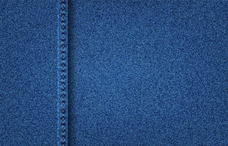 jeans texture: Vector jeans denim texture background with vertical stitch