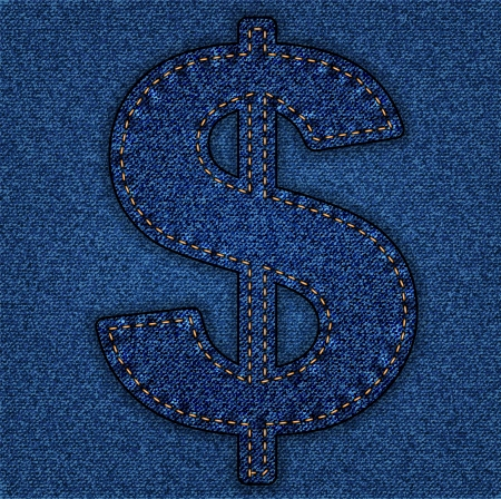 Denim dollar sign . Jeans alphabet.  Vector font with background Stock Vector - 24121835