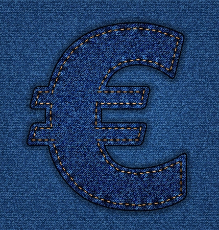 Denim Euro sign . Jeans alphabet.  Vector font with background Stock Vector - 24121845