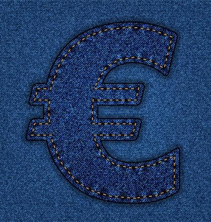 euro teken: Denim Euro teken. Jeans alfabet. Vector lettertype met achtergrond