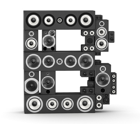 studio b: Letter B from black hi-fi speakers sound systems