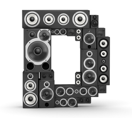hifi: Letter D from black hi-fi speakers sound systems