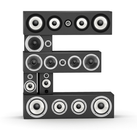 e systems: Letter E from black hi-fi speakers sound systems