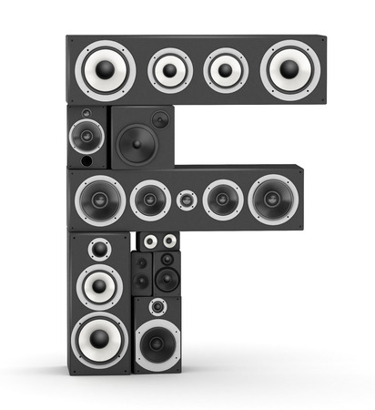fonts music: Letter F from black hi-fi speakers sound systems Stock Photo