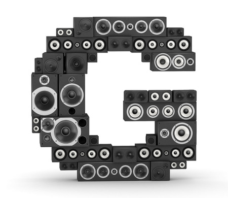 Letter G  from black hi-fi speakers sound systems photo