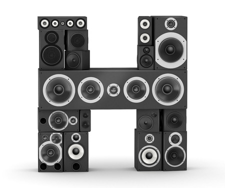 fonts music: Letter H from black hi-fi speakers sound systems Stock Photo