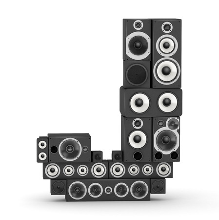 fonts music: Letter J from black hi-fi speakers sound systems