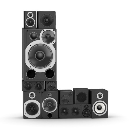 Letter L from black hi-fi speakers sound systems Stock Photo