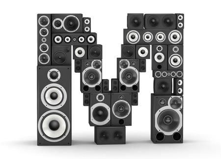 letra m: Letra M del negro altavoces de alta fidelidad del sistema de sonido