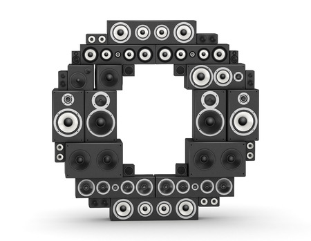 hifi: Letter O from black hi-fi speakers sound systems Stock Photo