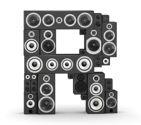 Letter R  from black hi-fi speakers sound systems