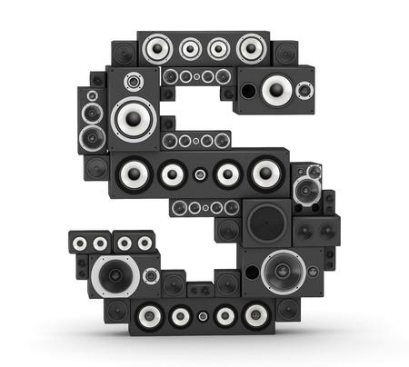 buchstabe s: Buchstabe S von schwarz hallo-Fi-Lautsprecher Sound-Systeme