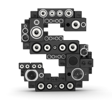 hifi: Letter S from black hi-fi speakers sound systems Stock Photo