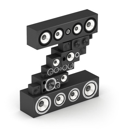 Letter Z from black hi-fi speakers sound systems  in isometry photo