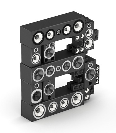 studio b: Letter B from black hi-fi speakers sound systems  in isometry Stock Photo