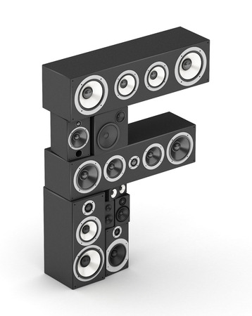 Letter F from black hi-fi speakers sound systems  in isometry