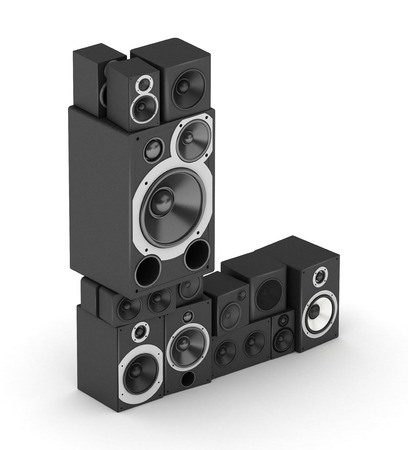 Letter L from black hi-fi speakers sound systems  in isometry