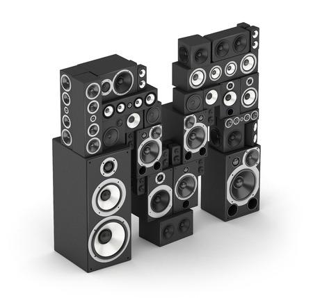 letra m: Letra M de altavoces hi-fi sistemas de sonido negras en isometr�a Foto de archivo