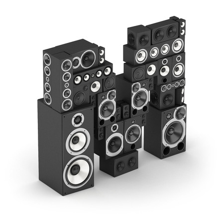 fonts music: Letter M from black hi-fi speakers sound systems  in isometry