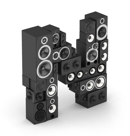 Letter N from black hi-fi speakers sound systems  in isometry