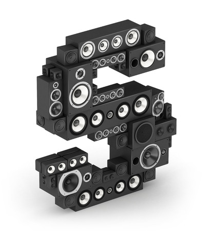 fonts music: Letter S from black hi-fi speakers sound systems  in isometry