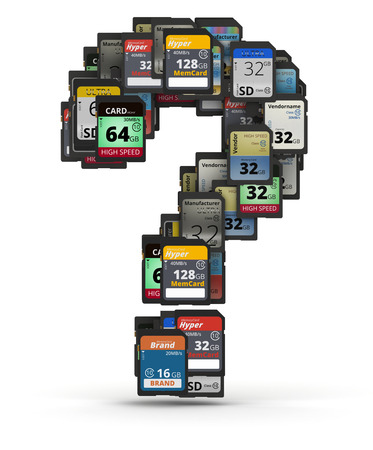 mb: Question mark from many memory sd cards,  fictional brands