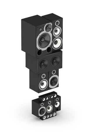 Exclamation point from black woods hi-fi speakers sound systems in isometry photo