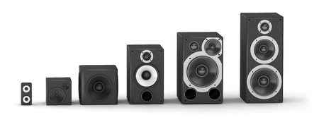 home audio: Chart from different sizes speakers hi-fi audio system
