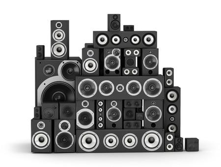 sound system: Big pile of speakers hi-fi audio system  Stock Photo