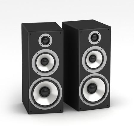 Ensemble de haut-parleurs haut de système audio salut-fi sur fond blanc