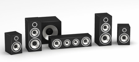 stereo subwoofer: Set of speakers for home theater 5.1 hi-fi audio system on white background Stock Photo