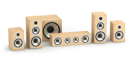 Set of wooden speakers for home theater 5 1 hi-fi audio system  photo