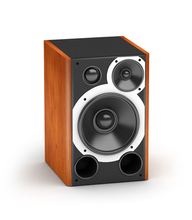 One red wooden concert style speaker  hi-fi audio system on white background photo
