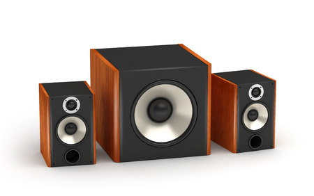 speaker system: 2.1 brown wood sound systems speakers with subwoofer on white background