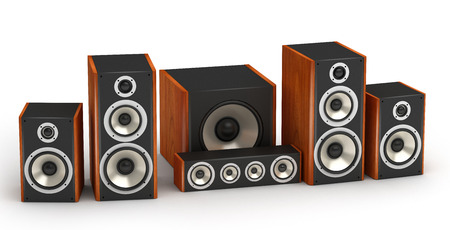 Set of red wooden speakers for home theater 5.1 hi-fi audio system on white background photo