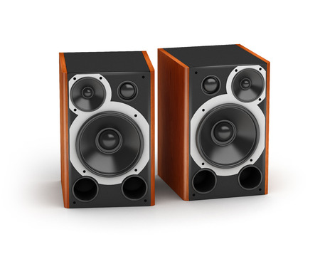 Set of brown wooden  concert style speakers stereo audio system on white background photo