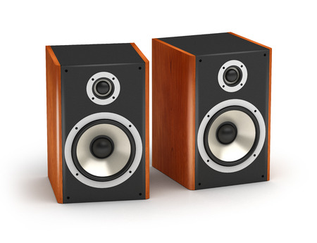 hifi: Set of red wooden  speakers stereo hi-fi audio system on white background Stock Photo